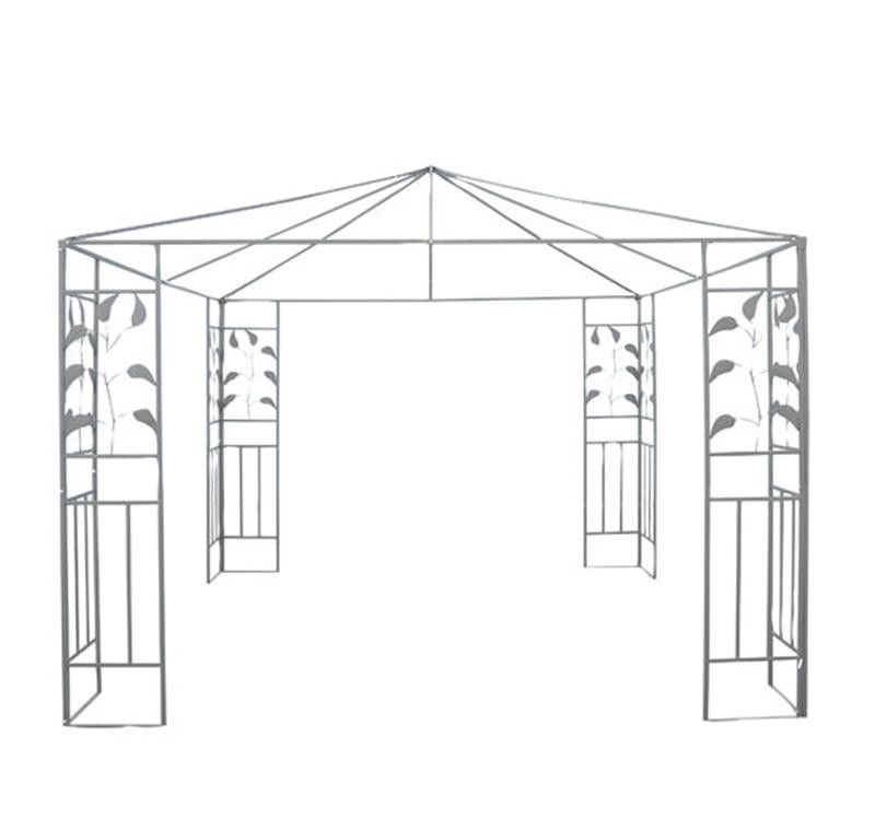 Outsunny 10 X Steel Gazebo Frame Leaf Design Decorative Sturdy Canopy Frame Gazebos Aosom Steel Gazebo Canopy Gazebo Frames Patio Canopy