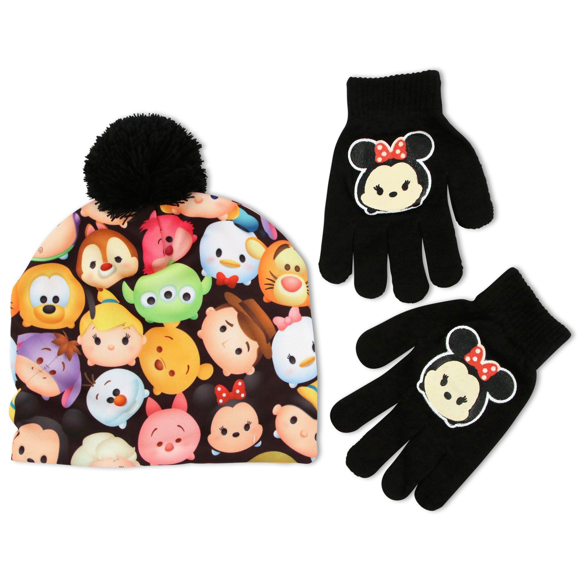 2584740dec5 Disney Little Girls Tsum Tsum Sublimated Neoprene Winter Beanie Hat With  Knit Yarn Pom Pom and Minnie Mouse Acrylic knit Glove Set