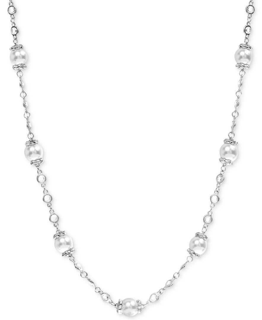 Judith Jack Imitation Pearl Station Necklace