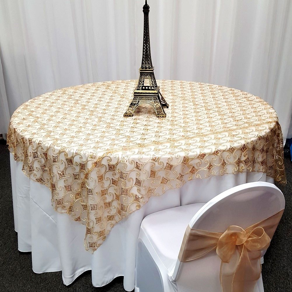 Cord Diamond Hologram Table Overlays With Sequins