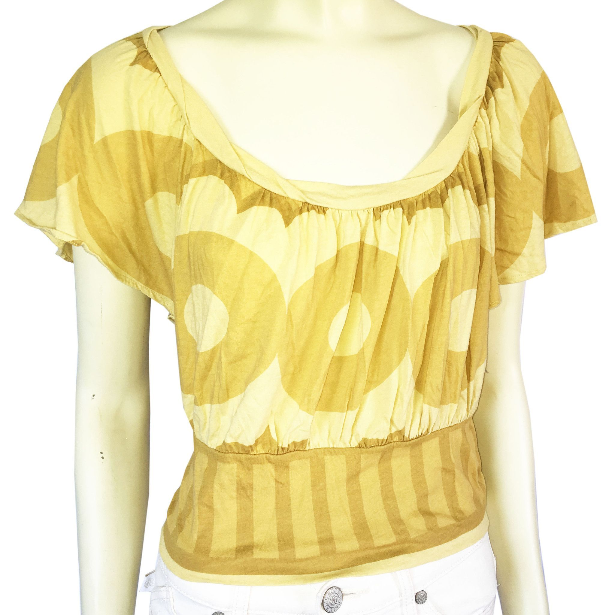 Anthropologie Language Los Angeles Banded Waist Scoop Neck Tee Top, Size S