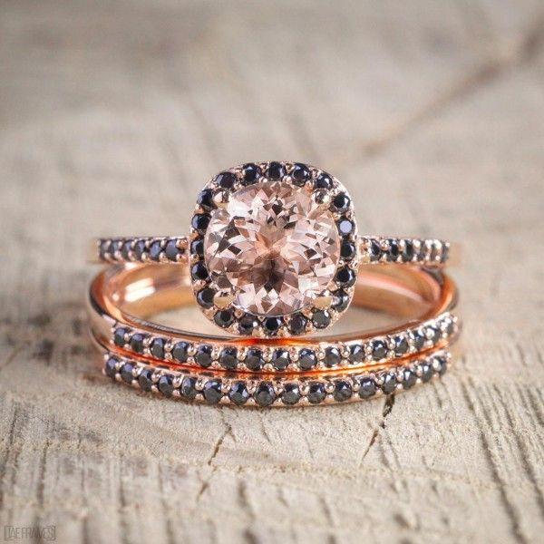 Black morganite wedding ring sets