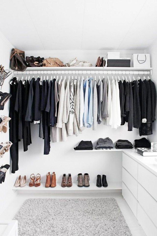 Modern All White Walk In Closet With A Basic Gray Ikea Alhede Rug Part 47