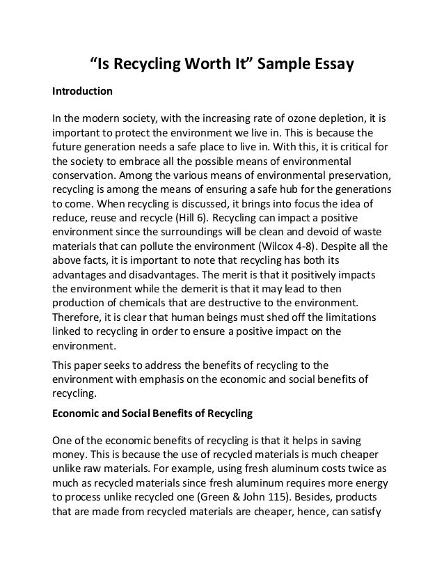 Free Recycling Essay And Papers Persuasive