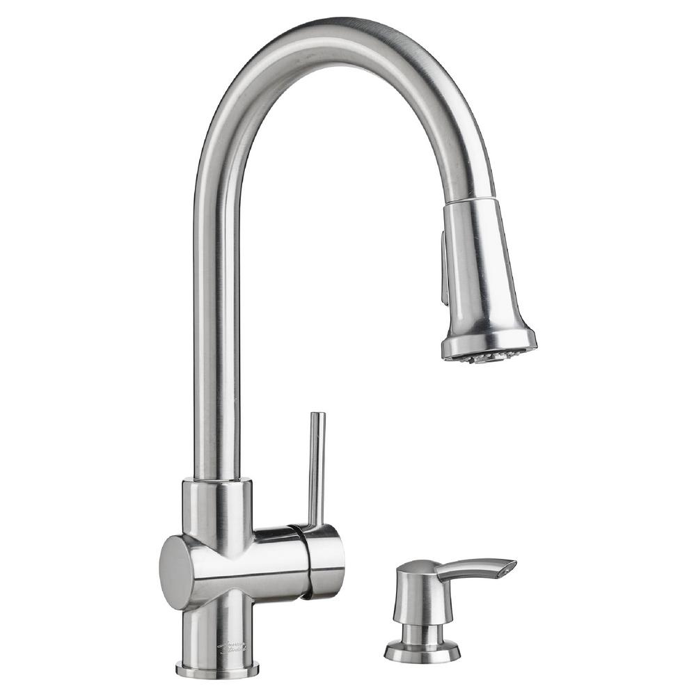 American Standard Montvale Single Handle Pull Down Sprayer Kitchen Faucet With Soap Dispenser In Stainless Steel Silver Stainless Steel Faucets Faucet Kitchen Faucets Pull Down