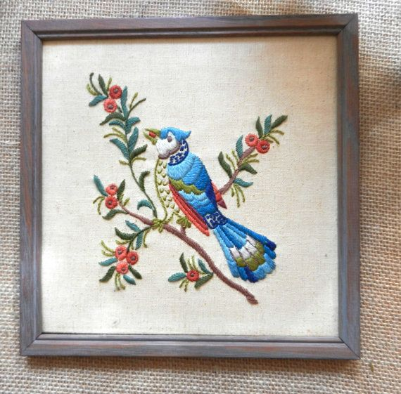 Two Framed Crewel Embroidery Birds by PickleRose on Etsy