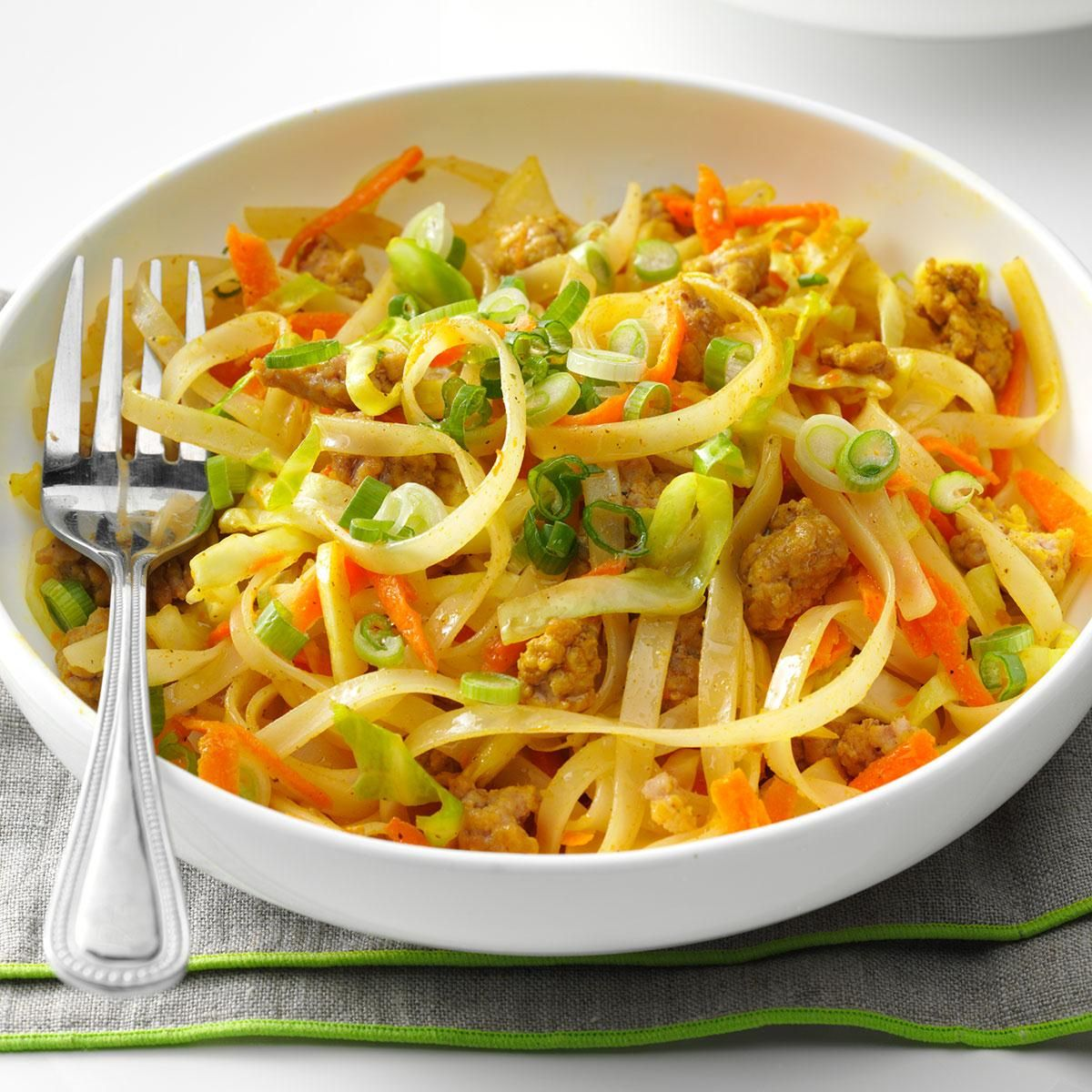 Egg Roll Noodle Bowl Recipe -We love Asian egg rolls, but they can be challenging to make. Simplify everything with this deconstructed version made on the stovetop. —Courtney Stultz, Weir, Kansas
