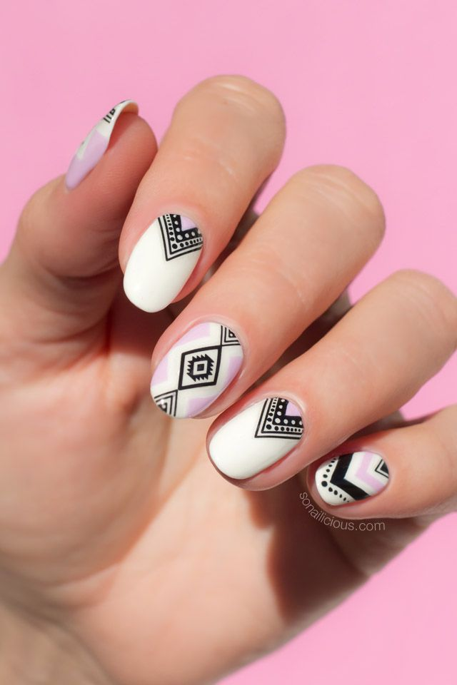 aztec nail art, summer nails - How To Do Aztec Nails In 5 Minutes [Seriously Easy Nail Art] Aztec