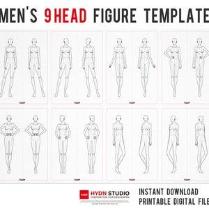 Women S 9head Figure Template02 For Fashion Illustration Etsy Fashion Template Women S 9head F Digital Print Fashion Flat Sketches Fashion Illustration