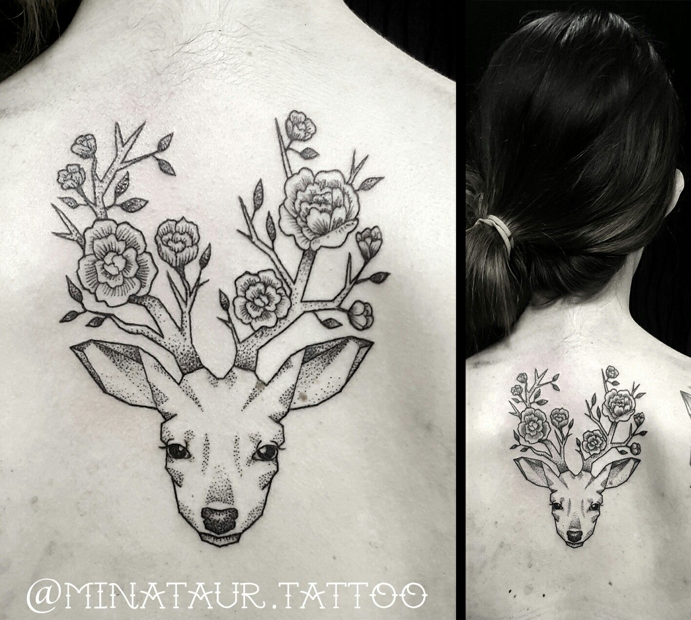 #Tattoo #tattoos #tattooartist #dotwork #linework #deerhead #deer #antlers #flowers #roses #doe #geometric #design #goldcoast #surfersparadise #minataurtattoo #minataur