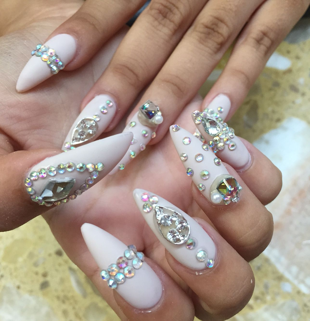 Prom Nails long stiletto nude matte with gems | Nailss | Pinterest ...