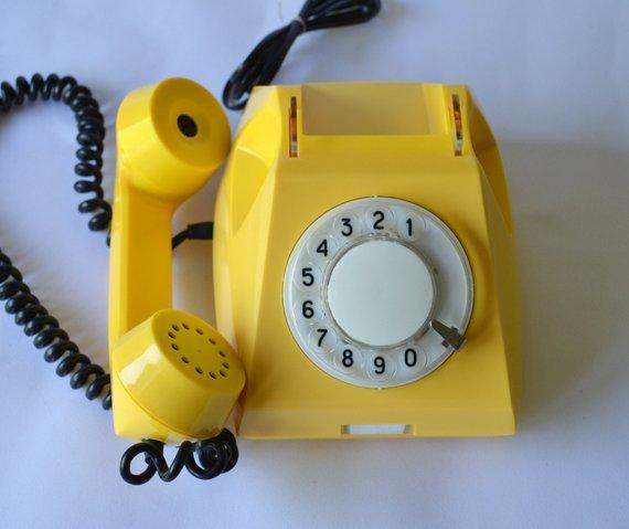Yellow Rotary Telephone, Vintage Classic Telephone, Working
