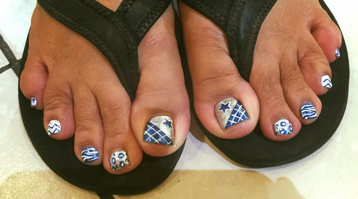 Dallas Cowboys Cute Toe Nail Design By Courtney At Lucky Nails In