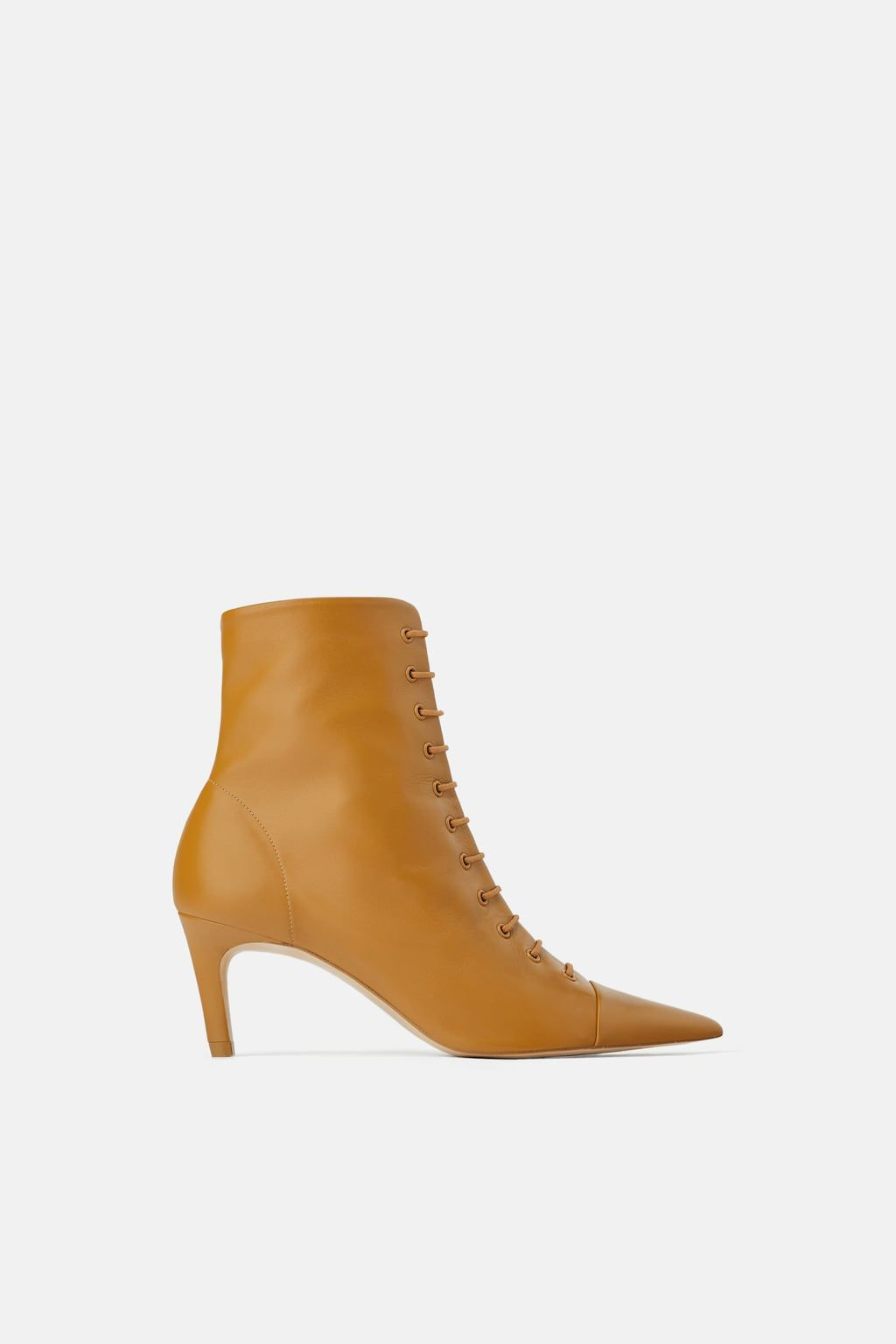 Leather Lace Up Mid Heel Ankle Boots Shoes Woman Shoes Bags Zara Cyprus Kitten Heel Boots Mid Heel Ankle Boots Heels