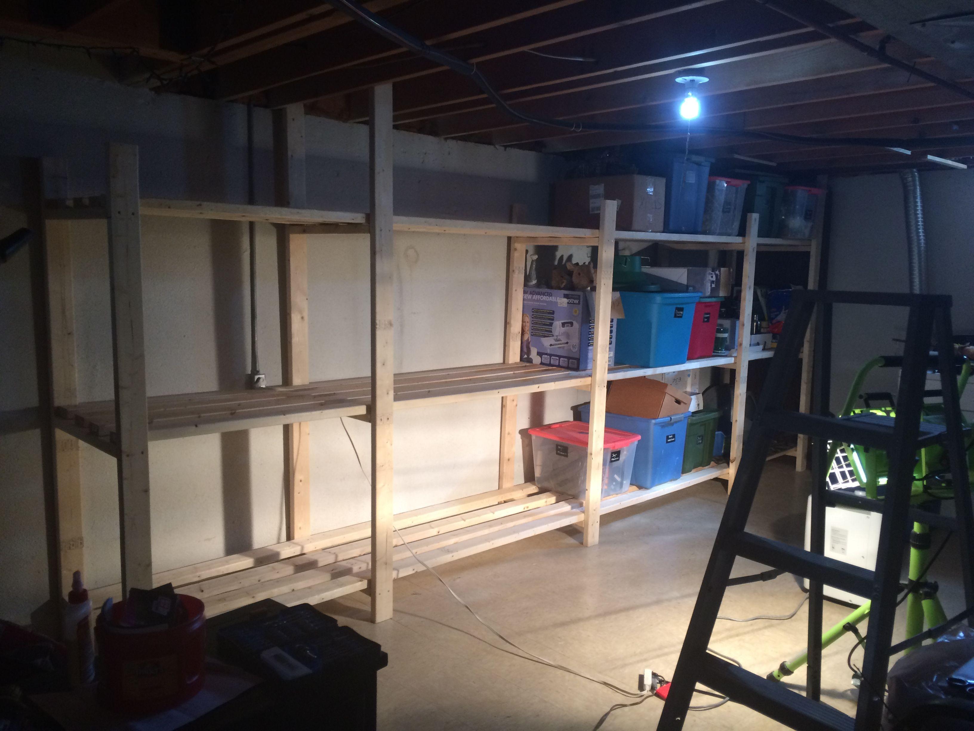 Basement shelving- so easy! Design idea came from Ana white!