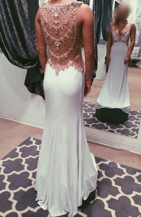 9f8b596a58 Ivory A-line V Neckline Chiffon Long Prom Dresss