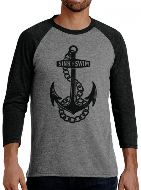 """Sink Or Swim"" Men's Raglan Tee by Tat Daddy Inked Shop"