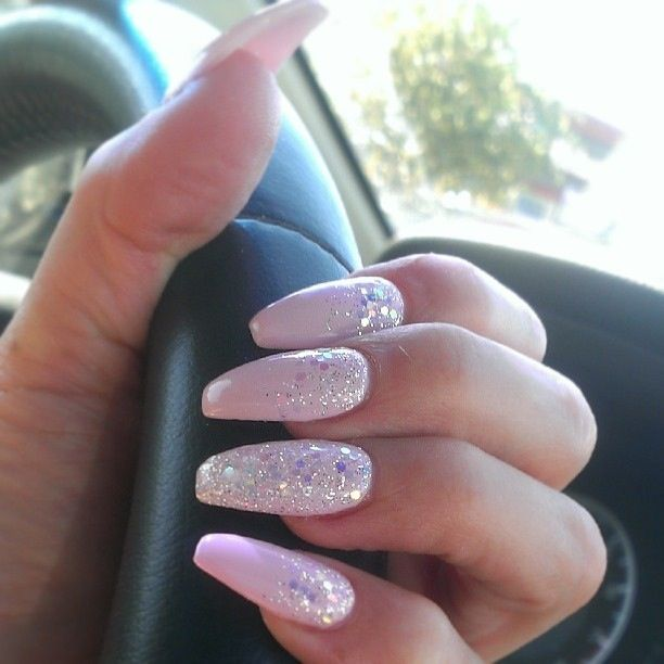 Coffin Shape Pink Nails With Glitter Cascade And Glitter Accent Nail Pink Nails Coffin Shape Nails Casket Nails