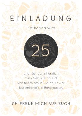 Schöne, Trendy Einladungskarte Zum 25. Geburtstag In Pastell Und Grau.  #25geburtstag #