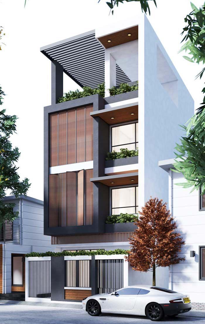 Modelo de casas de tr s andares renders arq en 2019 for Fachadas modernas para casas de tres pisos