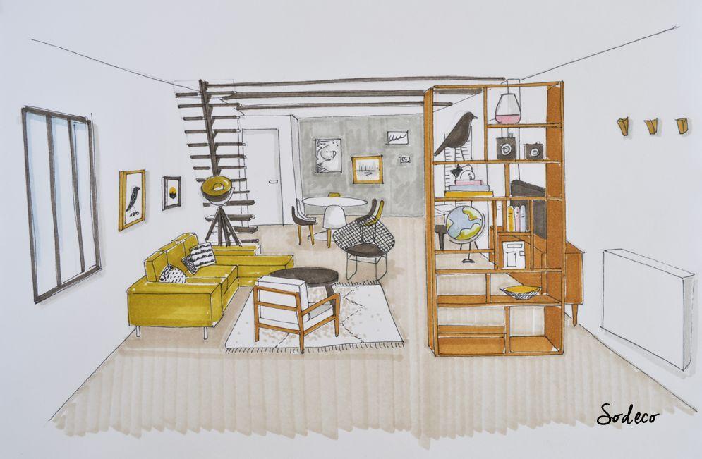 Shopping pour un loft paris architecture pinterest dessin dessin architecture et maison - Dessin d interieur de maison ...