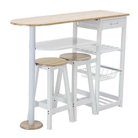 Mecor Kitchen Island Cart Table with 2 Stools & 1 Drawer,White