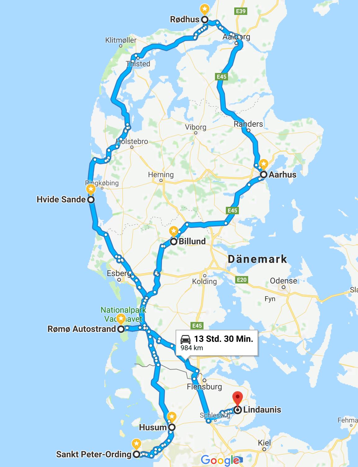 Reiseroute Dänemark  Reisen, Dänemark camping, Dänemark