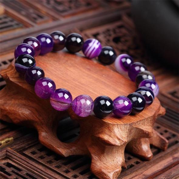 Nouveau Hommes Crown NOIR naturel pierres précieuses fait à la main Rond 8 mm Perles Fashion Bracelets