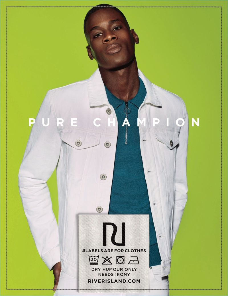 9dcbf8cfc6a Model David Agbodji wears white denim for River Island s spring-summer 2018  campaign.