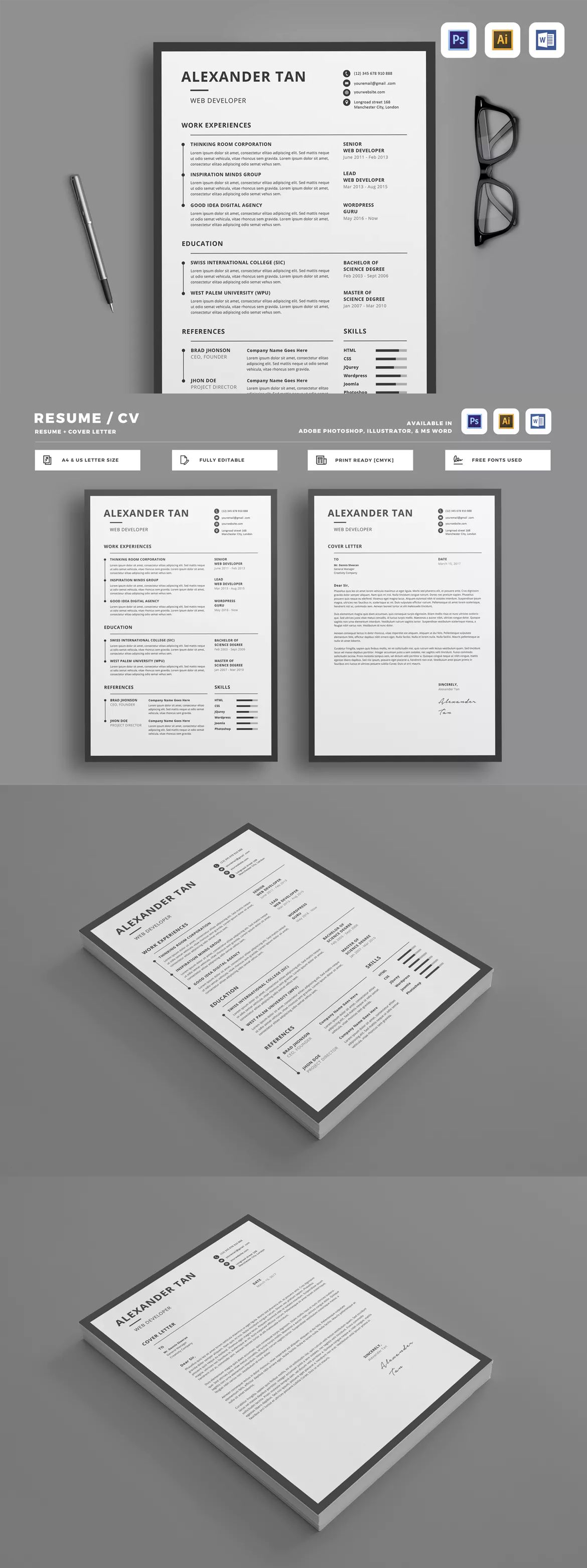 Cv Template Ai Eps Psd Ms Word  A  Us Letter Size  Resume