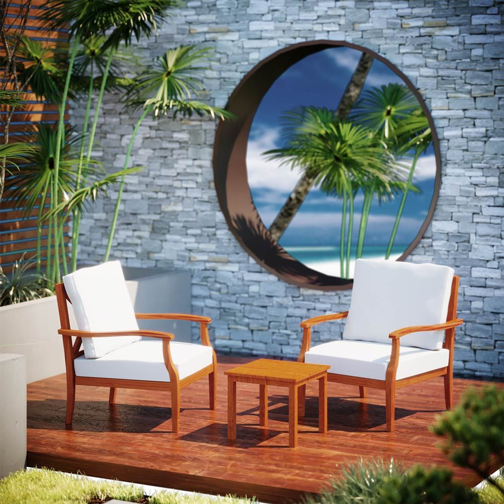 Buy Luxo Doumia Timber Outdoor Armchair & Side Table Set ... on Luxo Living Outdoor id=19944