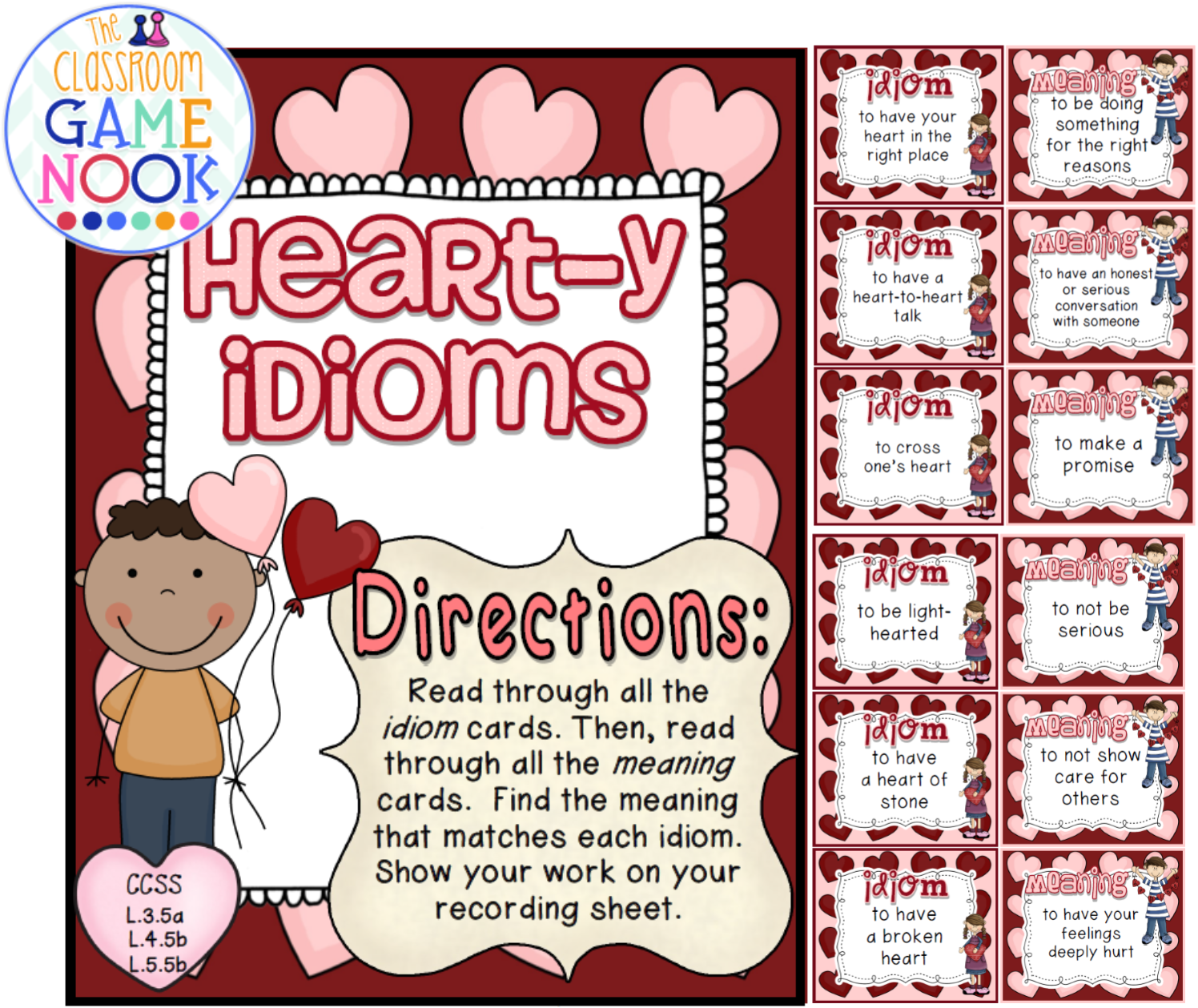 Four Valentine S Day Freebies Including Games And Printables Idiom Practice A Board Game You