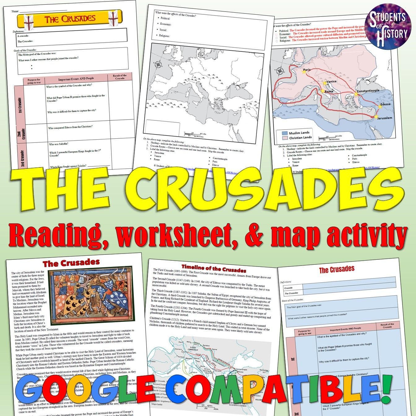Crusades Worksheet And Map Activity