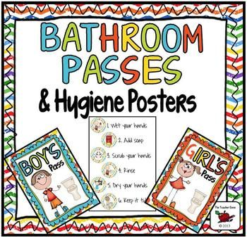 Bathroom Passes And Hygiene Posters Bathroom Pass Hand Washing