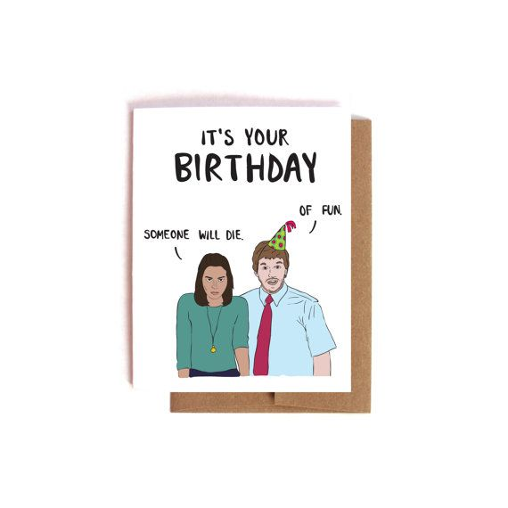 April And Andy Birthday Card Funny Parks And Rec Bday By Majikatz Funny Birthday Cards Birthday Cards Bday Cards