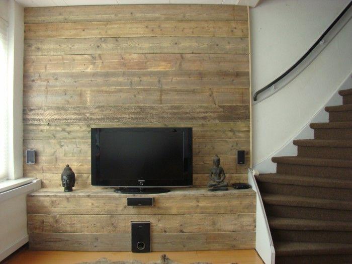 Muur steigerhout meubelpaneel google zoeken home for Steigerhout tv meubel maken