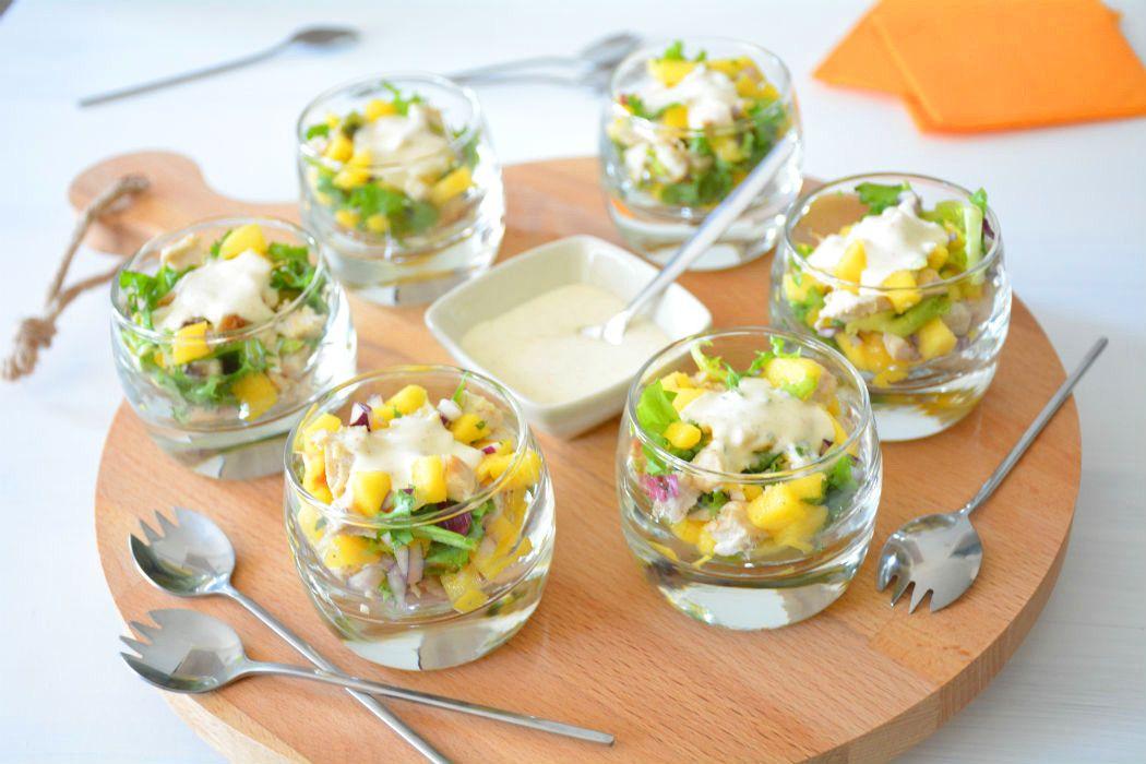 Ongekend Hapje met kip en mango (met afbeeldingen)   Voorgerecht met kip RM-07