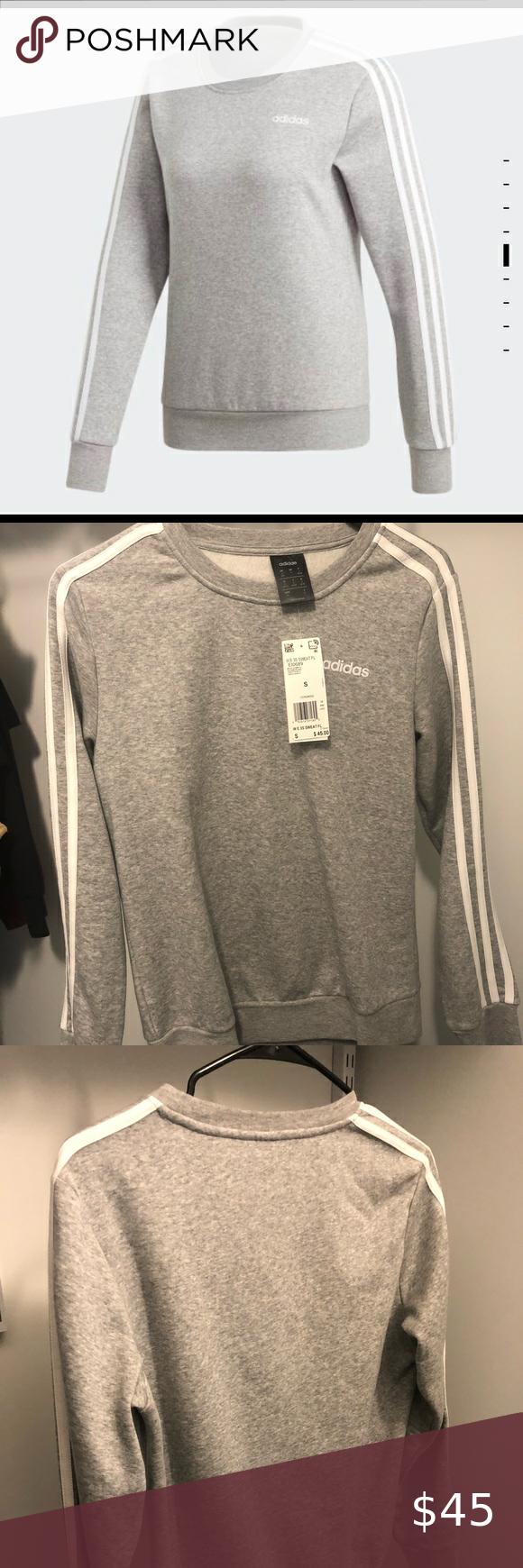 Predownload: Adidas Essentials 3 Stripes Sweatshirt Grey Brand New Adidas Ribbed Crewneck Three White Stripes On Both Arm Striped Sweatshirts Grey Sweatshirt Sweatshirts [ 1740 x 580 Pixel ]