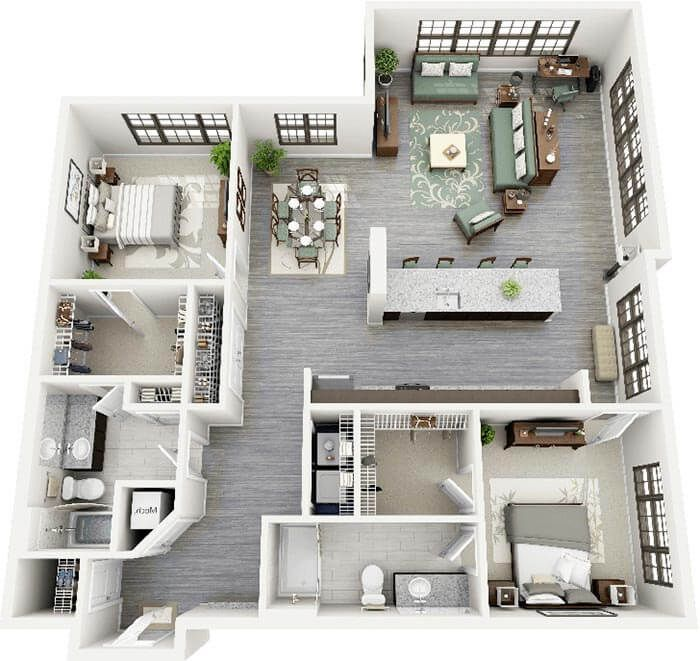 2+1 3d plan ev planları Pinterest 3d, Future house and Penthouses