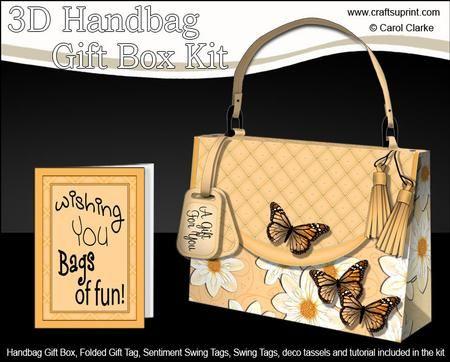3D Butterflies Flowers Handbag Treat or Favour Box Kit on Craftsuprint - Add To Basket!