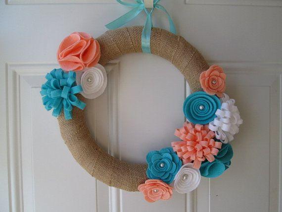 Spring Wreath Burlap and Felt Flowers Wreath Coral Aqua White Felt Flowers Floral Wreath Modern Wreath Door Decoration