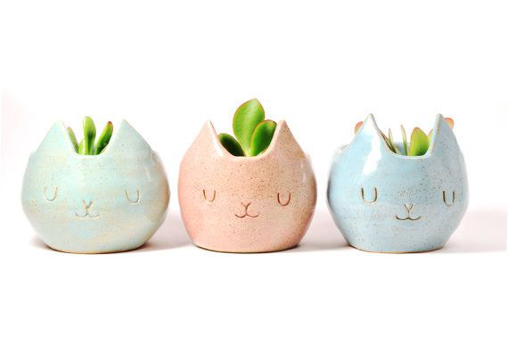18 Ways To Subtly Cover Your Home In Cats  Everyone who comes over to your house needs to know you're a cat person.  --This trio of mini plant pots.