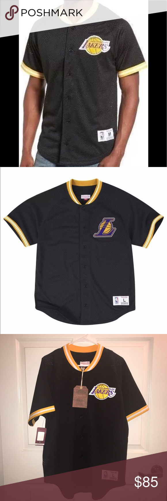 online store 9c3f8 ee329 Lakers Baseball Style Jersey •Los Angeles Lakers Mitchell ...