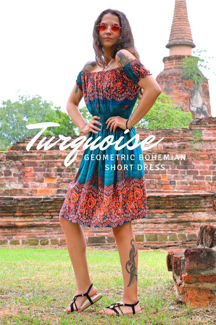 Turquoise geometric bohemian short dress 2