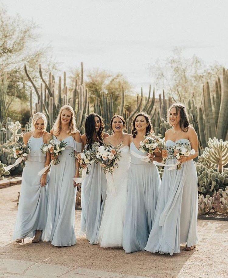 Powder Light Blue Bridesmaids Long Dresses Fall Autumn