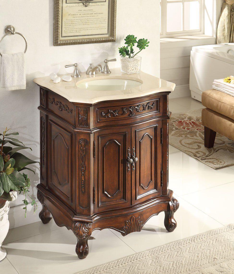 27 Inch Adelina Lush Wood Finish Bathroom Vanity Antique
