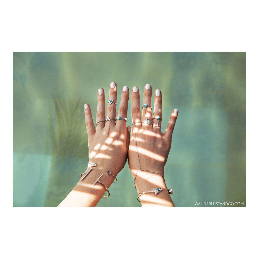 Multi-Tri Silver & Marble Ring - Wanderlust + Co