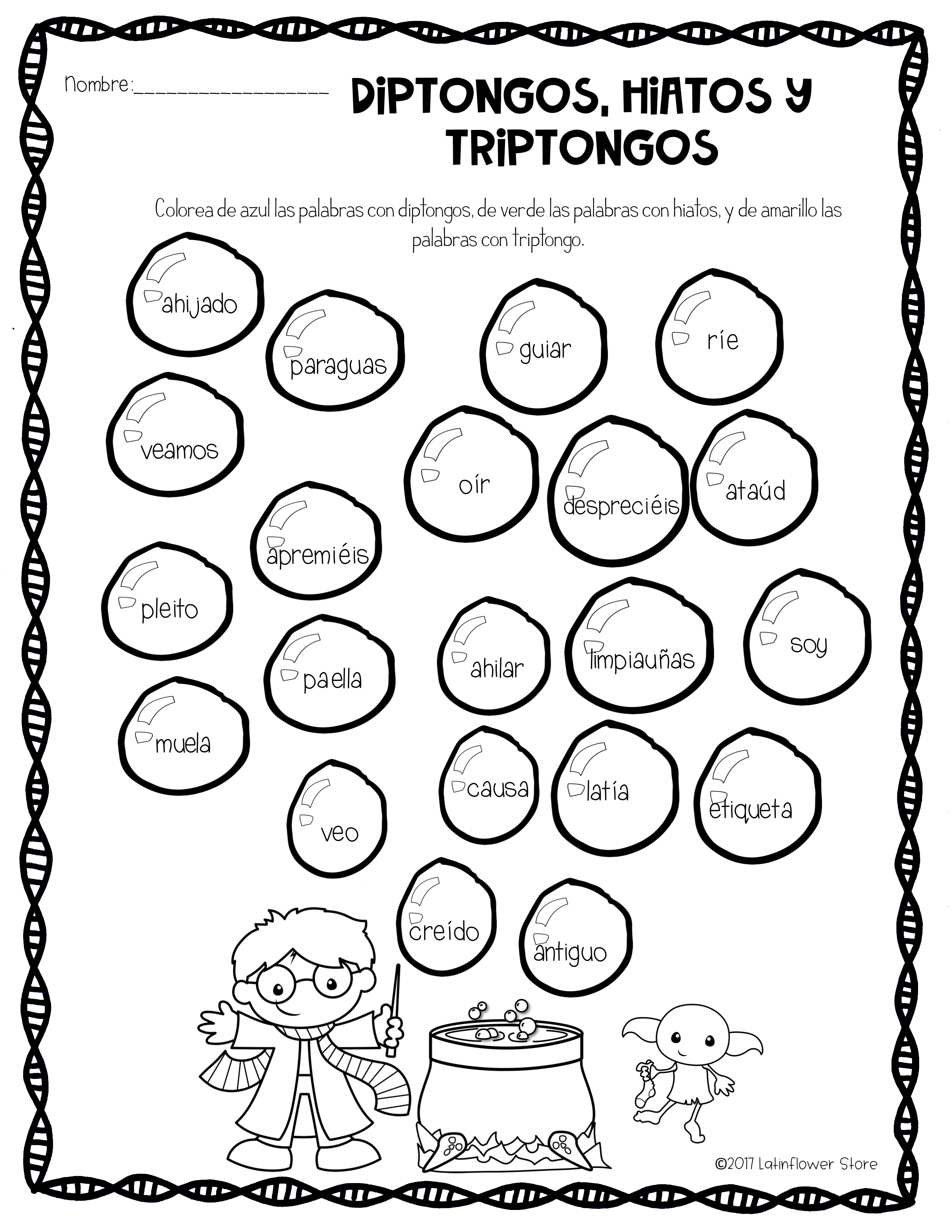 Syllables In Spanish Worksheets
