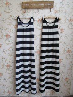 特日本单好品质超长宽松背心条纹拖地长裙0.25kg-淘宝网