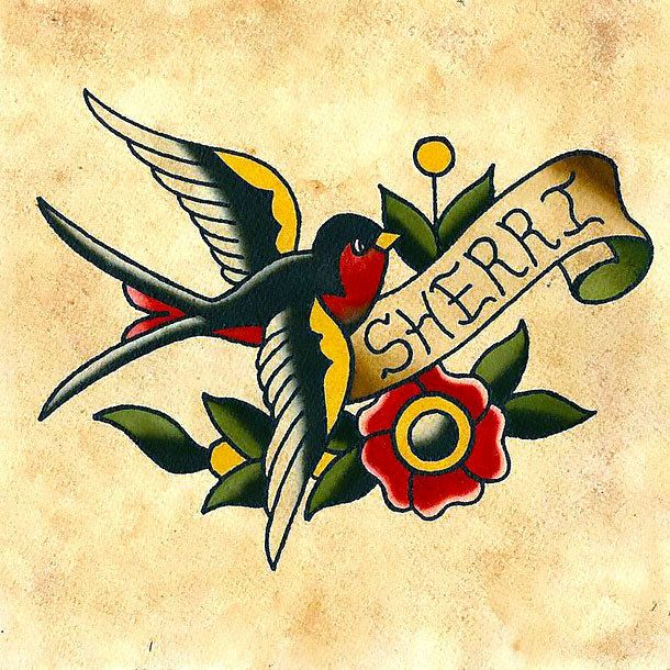 The Image Of The Swallow And Lettering Name Style Old School Tags Cool Popu Traditional Tattoo Bird American Traditional Tattoo Traditional Eagle Tattoo